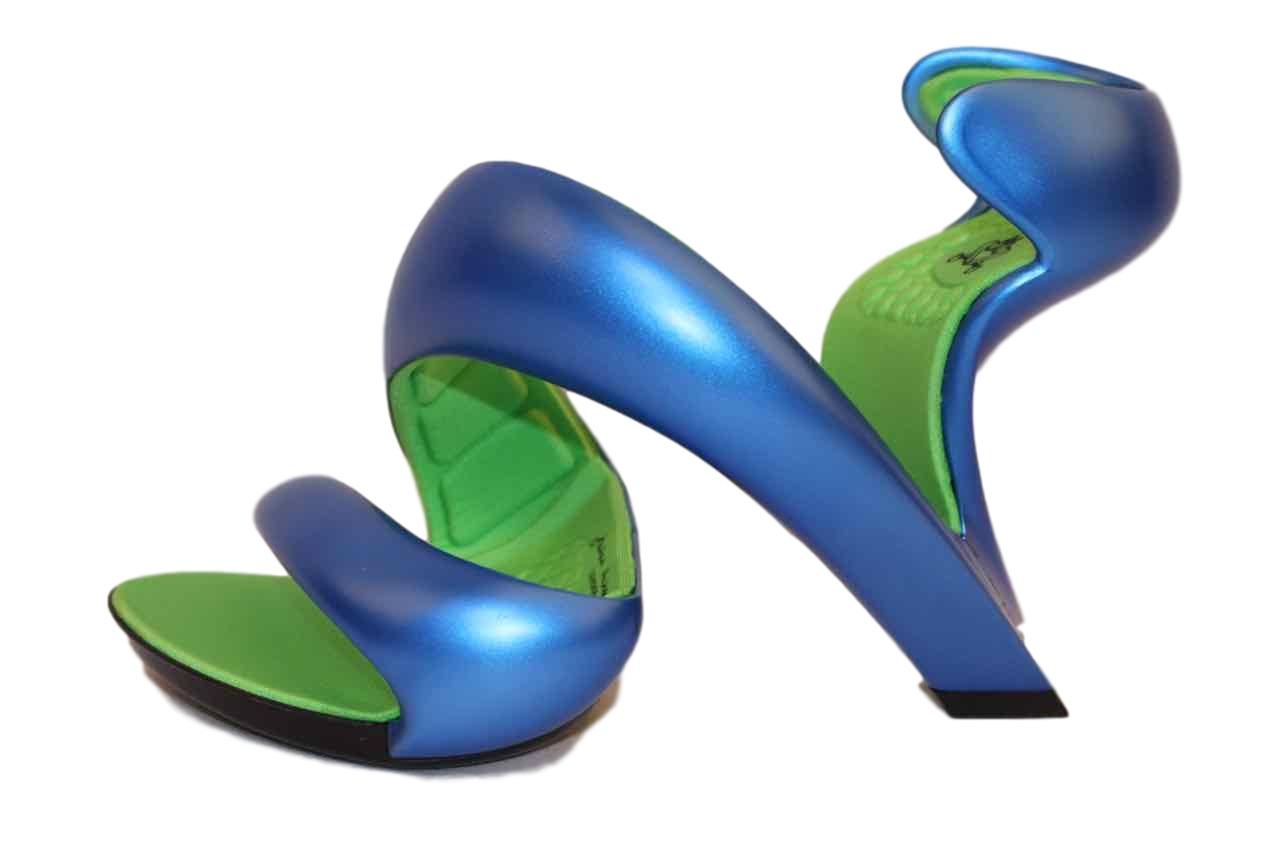 新品 ジュリアンヘイクス モヒート サンダル ハイヒール Blue/Lime Green 37 (24cm~24.5cm) No.14072414