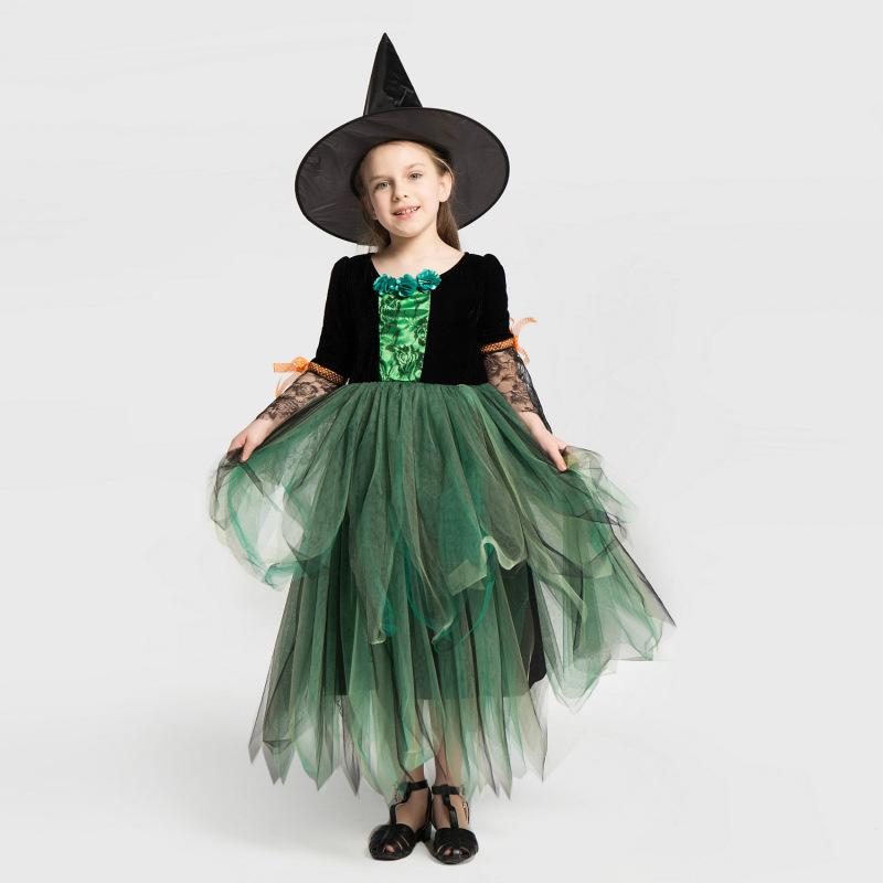 Halloween キッズドレス 演出服 お姫様 コスプレ衣装 子供 可愛い コスチューム 女の子 イベント 2点セット ハロウィン ウィッチ 子供ドレス ワンピース 小悪魔 ハロウィーン 贈答 コスプレ 巫女 高価値 魔女