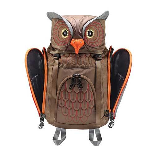 アニマルバッグ モーン Hug FACTORY The owls ミミズクバックパックMサイズ OW 112 リュックサック MORNジッパー付き ショルダーストラップ 撥水加工ナイロン 大人リュック アニマル柄 ナップザック レディースバッグ 入学式 入社式 卒業式 ギフトbfgy76