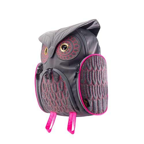 Hug.FACTORY The owls ミミズククラッシックバックパックMサイズ OW-312 リュックサック MORN ジッパー付き ショルダーストラップ 撥水加工ナイロン 大人リュック アニマル柄 ナップザック レディースバッグ 入学式 入社式 卒業式 ギフト