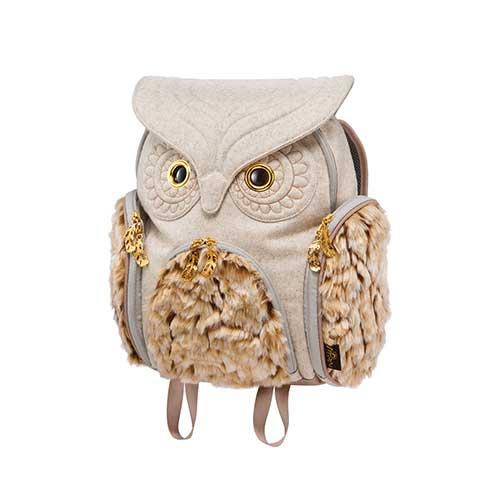 Hug.FACTORY The owls ミミズククラシックフランネル ファーLサイズ OW-352 リュックサック MORN ジッパー付き ショルダーストラップ 撥水加工ナイロン 大人リュック アニマル柄 ナップザック レディースバッグ 入学式 入社式 卒業式 ギフト