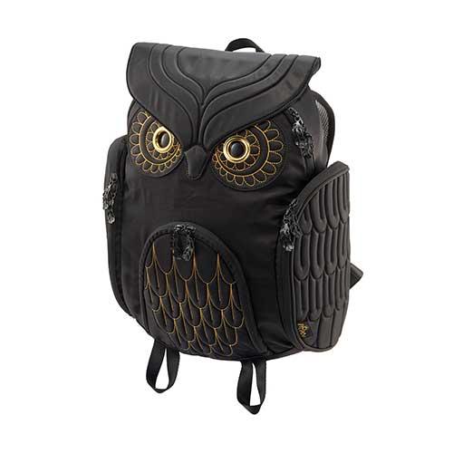 Hug.FACTORY The owls ミミズクバックパックゴールドエンブロ OW-381 リュックサック MORN ジッパー付き ショルダーストラップ 撥水加工ナイロン 大人リュック アニマル柄 ナップザック レディースバッグ 入学式 入社式 卒業式 ギフト