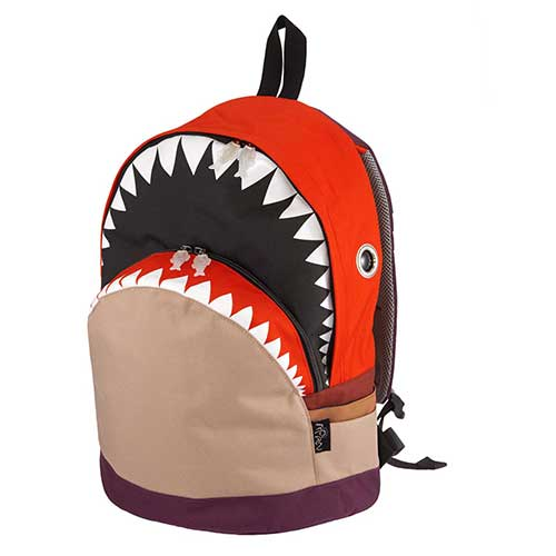 ノベルティプレゼント 【クーポンで最大8%OFF】Hug.FACTORY Ocean シャークバックパック L コンビ SK-301 リュックサック MORN ジッパー付き ショルダーストラップ ナイロン 大人リュック アニマル柄 ナップザック サメ シャーク レディースバッグ