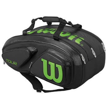 【SALE★在庫限り】ウイルソン(Wilson)テニスバッグ TOUR V 15 PACK Black/Lime WRZ845615