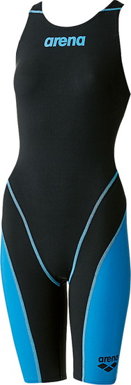 ARENA(アリーナ) ジュニア(ガールズ)競泳用水着(Fina承認) ジュニアハーフスパッツオープンバック(クロスバック)アクアフォースフュージョン2 ARN7010WJ-BKBU