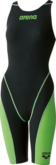 ARENA(アリーナ) ジュニア(ガールズ)競泳用水着(Fina承認) ジュニアハーフスパッツオープンバック(クロスバック)アクアフォースフュージョン2 ARN7010WJ-BKLG