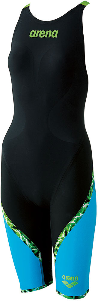 ARENA(アリーナ) 【ガールズ 競泳用水着(Fina承認)】 ジュニアハーフスパッツ フラットクロスバック アクアレーシング 水泳 水着 ARN6000WJ-BKBU ジュニア ガールズ