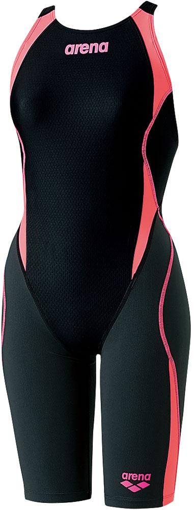 ARENA(アリーナ) ガールズ 競泳用 ジュニアハーフスパッツ(着やストラップ) アクアハイブリッド 水泳 水着 ARN8080WJ-BKPF ジュニア ガールズ