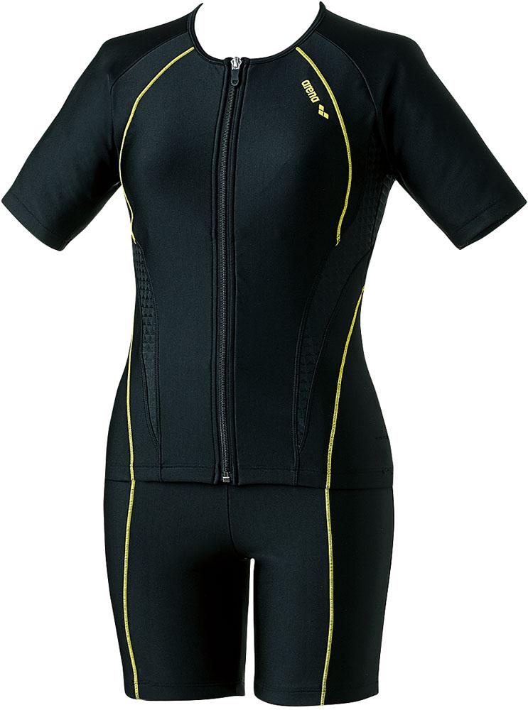 ARENA(アリーナ) フィットネス 大きめカラースナップ付き袖付きセパレーツ(差し込みフィットパッド) ウォーターエクササイズ 水泳 水着 LAR8242WE-BKBK