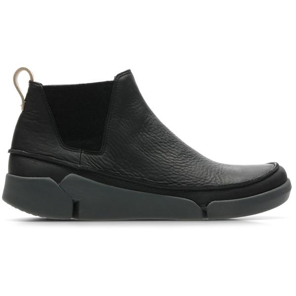 Clarks(クラークス) Tri Poppy Black Leather カジュアル シューズ CL-26135336
