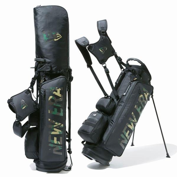 ニューエラ(NEW ERA) 【ゴルフ】 キャディーバッグ スタンド式 ブラック ウッドランドカモプリントロゴ [ベーシックポーチ付き] 12325911