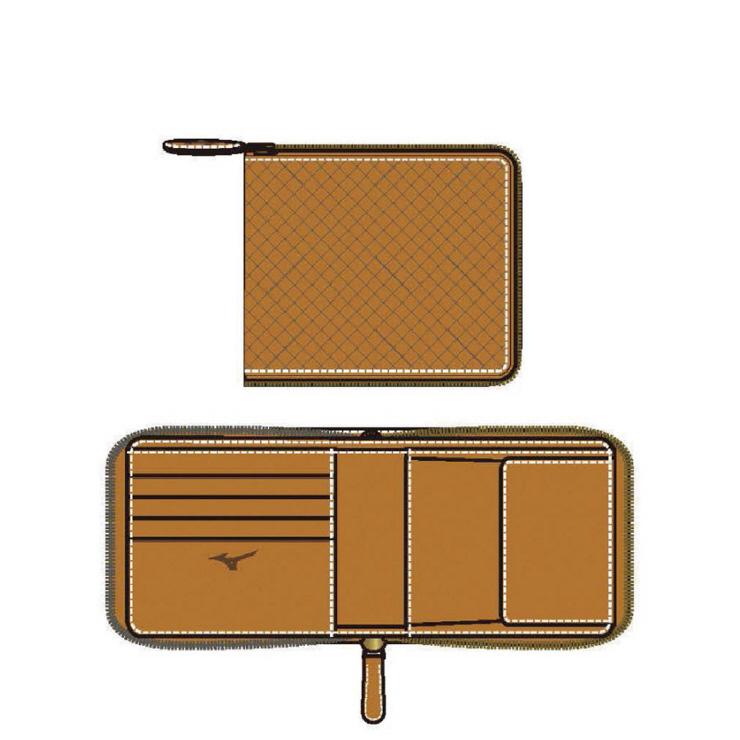 MIZUNO(ミズノ) ファスナー付二つ折り財布(型押し) 野球 アクセサリー ユニセックス 男女兼用 1GJYG0130059