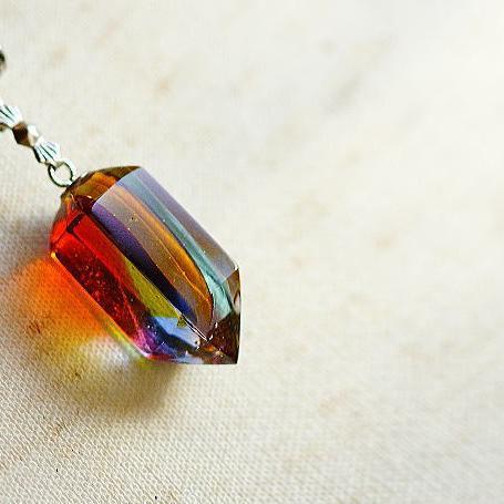 『Flow rain ~ 春色の雨 ~』 ガラスアクセサリー ネックレス・ペンダント 立体造形タイプ