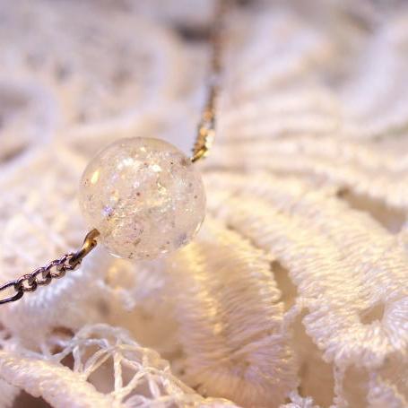 『Last snow ~ なごり雪 ~』 ガラスアクセサリー ネックレス・ペンダント 立体造形タイプ