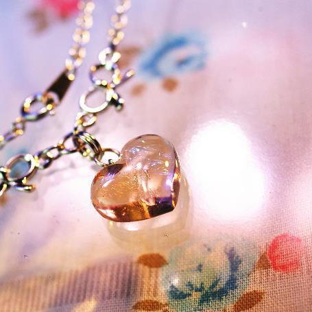 『Coral heart』 ガラスアクセサリー ネックレス・ペンダント ハートタイプ