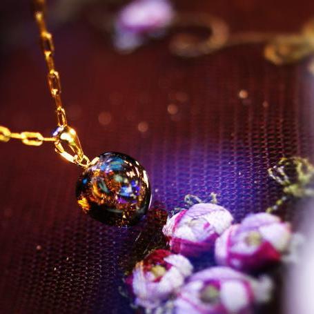 『Petit rose』 ガラスアクセサリー ネックレス・ペンダント ダイカット(平面造形)タイプ