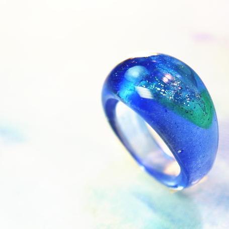 『Blue sea paradise』 ガラスアクセサリー リング・指輪 ノーマルタイプ