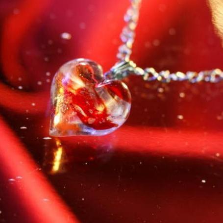 『Love Cupid ~ 愛のキューピッド ~』 ガラスアクセサリー ネックレス・ペンダント ハートタイプ