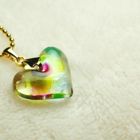 『Heart of Christmas color』 ガラスアクセサリー ネックレス・ペンダント ハートタイプ