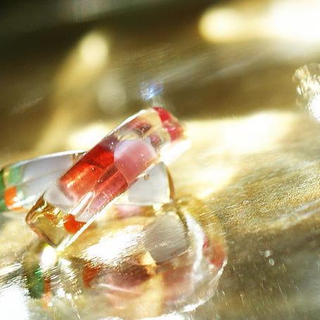 『華の縁結び』 ガラスアクセサリー リング・指輪 デザインタイプ