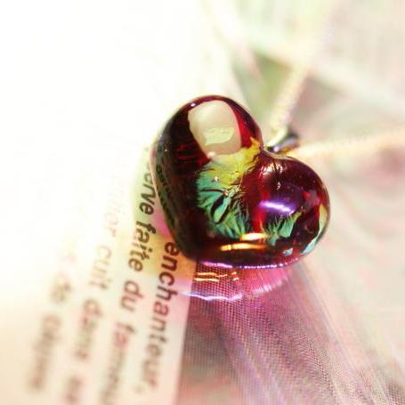 『手元供養 ガラスのメモリアルジュエリー 『la Provence』』 ガラスアクセサリー ネックレス・ペンダント ハートタイプ