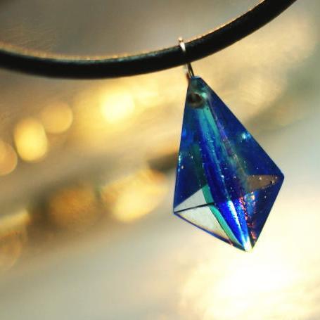 『DreamBlue ~ Reflector ~』 ガラスアクセサリー ネックレス・ペンダント 立体造形タイプ