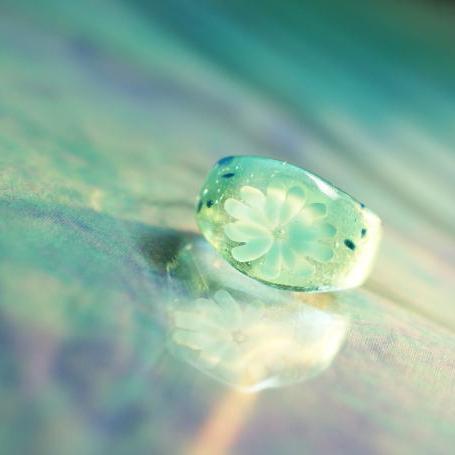 『優しさの水中花』 ガラスアクセサリー リング・指輪 ノーマルタイプ