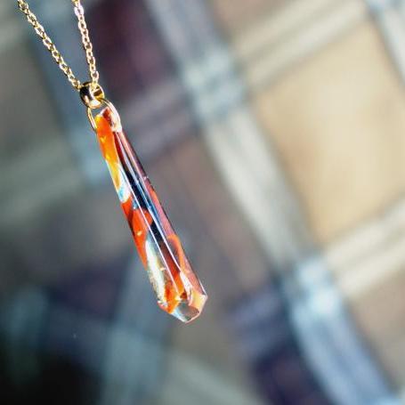 『Glass tie』 ガラスアクセサリー ネックレス・ペンダント 四角・多角・星タイプ