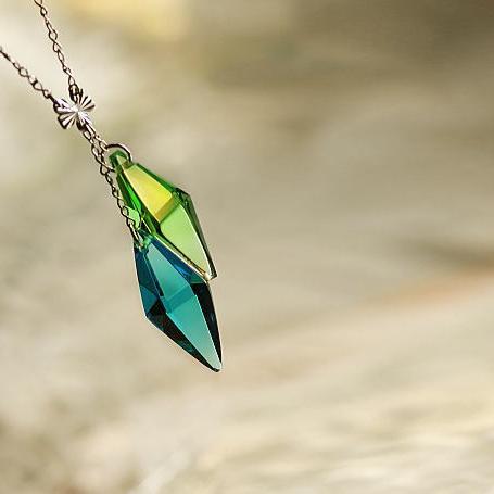 『Standard Dream青 ~ Resonance ~』 ガラスアクセサリー ネックレス・ペンダント 立体造形タイプ