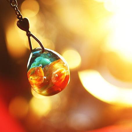 『Amazing sunset』 ガラスアクセサリー ネックレス・ペンダント 円・楕円・ドロップタイプ