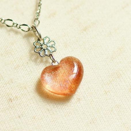 『Coral heart ~ Sunset ~』 ガラスアクセサリー ネックレス・ペンダント ハートタイプ