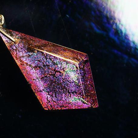 『Multicolor diamond』 ガラスアクセサリー ネックレス・ペンダント 四角・多角・星タイプ