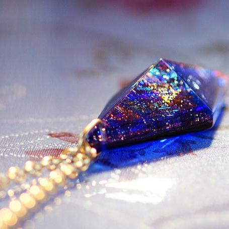 『Pure dream ~ 青の世界 ~ 』 ガラスアクセサリー ネックレス・ペンダント 立体造形タイプ