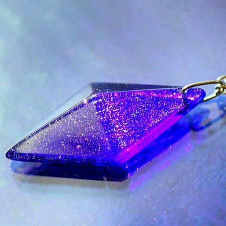 『Blue universe of stardust』 ガラスアクセサリー ネックレス・ペンダント 立体造形タイプ