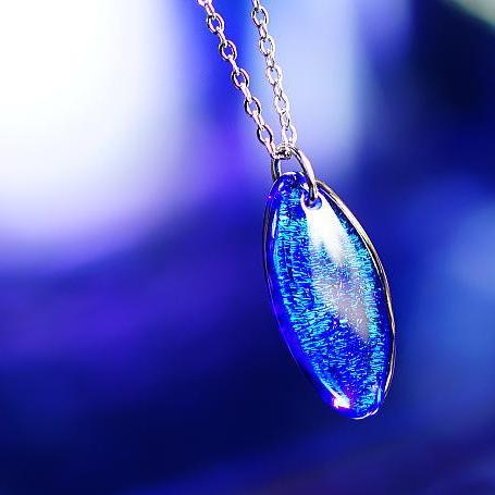 『Blue Marquis』 ガラスアクセサリー ネックレス・ペンダント 円・楕円・ドロップタイプ