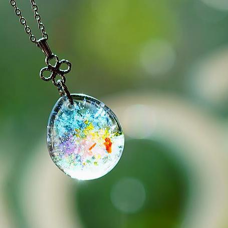 『Flowery garden』 ガラスアクセサリー ネックレス・ペンダント 円・楕円・ドロップタイプ