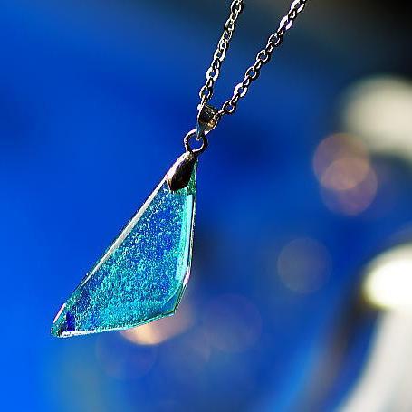 『Blue sandy beach』 ガラスアクセサリー ネックレス・ペンダント 四角・多角・星タイプ