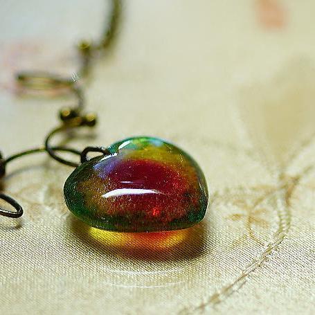 『Aqua jewel heart ~ ANTIQUE ~』 ガラスアクセサリー ネックレス・ペンダント ハートタイプ