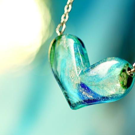 『Seaside Love』 ガラスアクセサリー ネックレス・ペンダント ハートタイプ