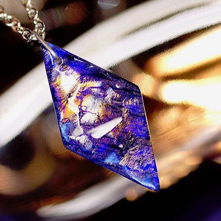 『Blue aspiration』 ガラスアクセサリー ネックレス・ペンダント 四角・多角・星タイプ