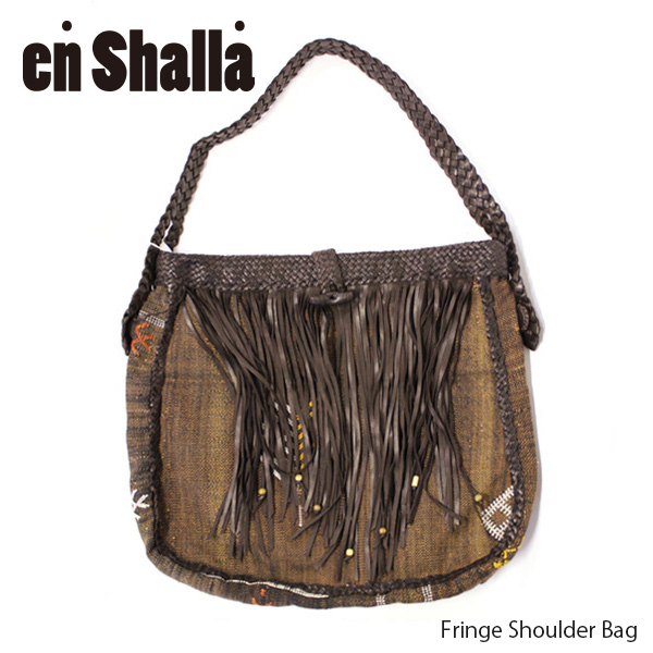 【送料無料】【Enshalla-エンシャーラ-】Fringe Shoulder Bag[Ensbag0553]-レザーフリンジショルダーバッグ-[レディース・レザーハンドメイドBAG・ボヘミアン・カゴバッグ]