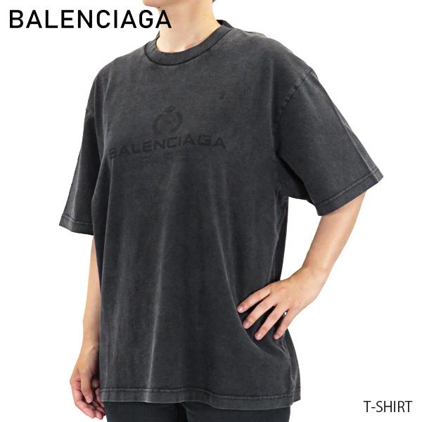 【送料無料】【並行輸入品】『BALENCIAGA-バレンシアガ-』 CREW-NECK T-SHIRT ロゴプリントTシャツ 半袖 レディース[594599THV85/G 1140]