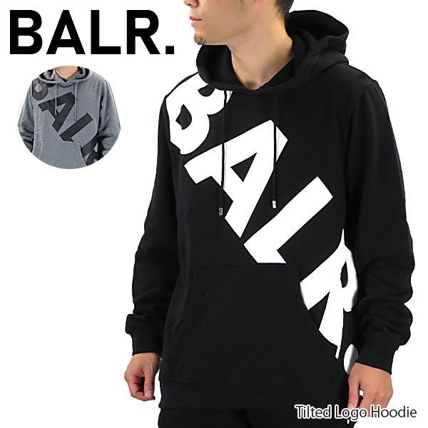 【2019 AW】【並行輸入品】『BALR. -ボーラー-』Tilted Logo Hoodie メンズ フーディー パーカー 長袖 ブラック グレー ストリート スポーティ【スーパーSALE開催☆ポイント最大44倍!!6/11 01:59マデ】
