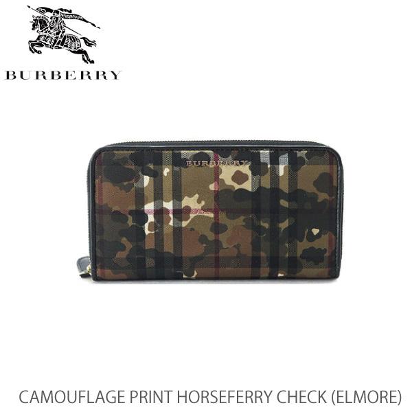 【送料無料】【BURBERRY-バーバリー】ELMORE Camouflage Print HorseferryCheck [長財布 カモフラ柄 迷彩柄 ラウンドファスナーウォレット]