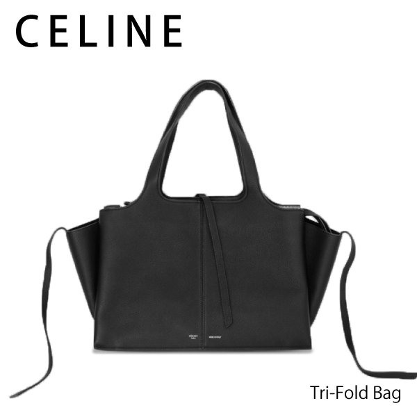 【150時間限定ポイント最大43倍!お買い物マラソン】【送料無料】【2018SS】【並行輸入品】『CELINE-セリーヌ-』Tri-Fold Bag[TRI FOLD MEDIUM 178883AIK ブラック]