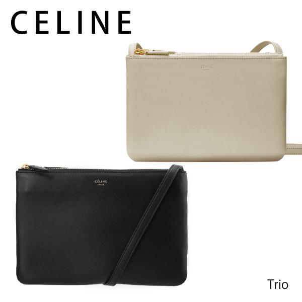 【送料無料】【2018SS】【並行輸入品】《跡がついている》『CELINE-セリーヌ-』Trio Shoulder Bag[165113ETA ホワイト ブラック]