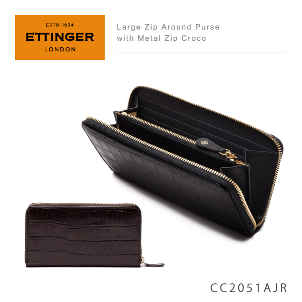 【送料無料】】【並行輸入品】『Ettinger-エッティンガー-』Large Zip Around Purse with Metal Zip Croco 〔CC2051AJR〕