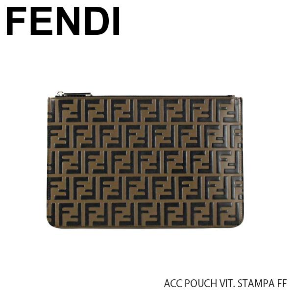 【送料無料】『FENDI-フェンディ-』ACC POUCH VIT. STAMPA FF[7N0078 A42P]-サティナート クラッチバッグ-