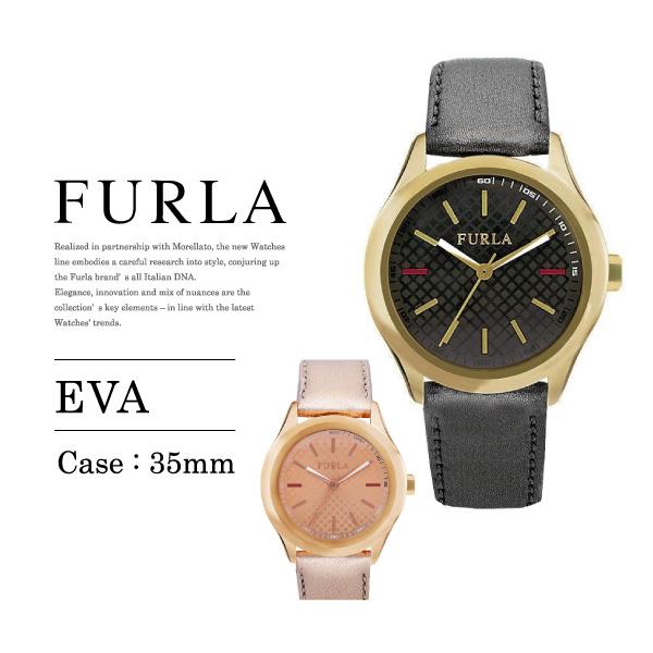 【送料無料】『FURLA-フルラ-』EVA 35mm Leather〔R4251101501/R4251101502〕[ レディース腕時計 エヴァ ウォッチ ブラック メタリックローズ レザーベルト]