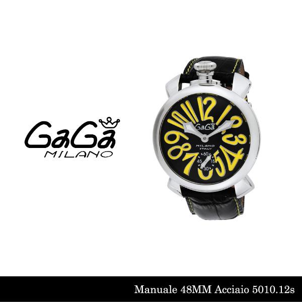 【送料無料】【LaGアウトレット】【訳あり:箱無し】【GaGa MILANO-ガガ ミラノ-】Manuale 48MM 5010.12S Black Black Swiss Model[5010.12S]